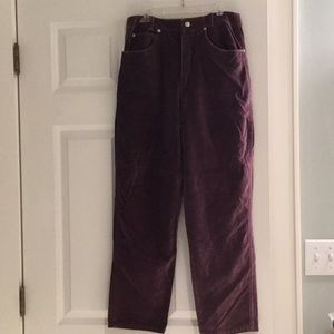 Jean style velour pants. Zip front with 4 pockets
